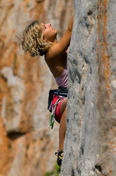 Angelika Rainer searching for holds