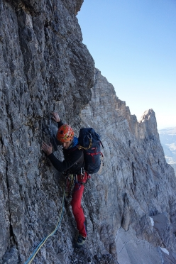 Marcin Tomaszewski making the first ascent of 'Dirty Harry' (VII, 1375m, 24-25/08/2016), together with Tom Ballard up the NW Face of Civetta, Dolomites.