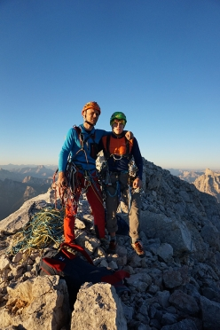 Marcin Tomaszewski and Tom Ballard on the summit after having made the first ascent of 'Dirty Harry' (VII, 1375m, 24-25/08/2016) up the NW Face of Civetta, Dolomites.