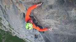 Matteo Della Bordella and Eugenio Pesci climbing their route IF (300m, 8a max, 7b+ obbl.), Sasso Cavallo (Grigne group).