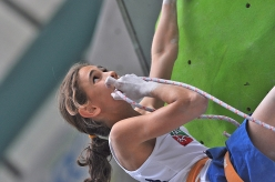 Laura Rogora competing in the Youth World Climbing Championship 2015 at Arco