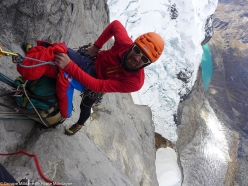 Didier Jourdain during the first ascent of the East Face of Siula Grande, Peru, carried out together with Max Bonniot