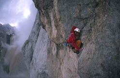 Pietro Dal Prà making the first free ascent of Via della Cattedrale, Marmolada, Dolomiti