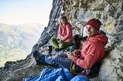 Roger Schaeli and Mayan Smith-Gobat making the second free ascent of 'La vida es silbar' (900m, Daniel Anker, Stephan Siegrist, 1988-1999. First free ascent: Stephan Siegrist, Ueli Steck 2003), Eiger North Face