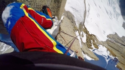 Markus Pucher climbing Cerro Pollone in Patagonia alone on 17 September 2016