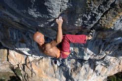 Alessandro Jolly Lamberti making the first ascent of La Morte 8c at Pietrasecca
