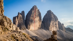 The line of the Spanish route, Cima Grande di Lavaredo, Dolomites