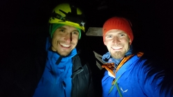 Jacek Matuszek and Łukasz Dudek at 03:30, at the top of the Spanish route, Cima Grande di Lavaredo, Dolomites