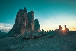 Sunset over the Tre Cime di Lavaredo, Dolomites