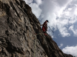 During the first ascent of La Cruna dell'Ago, Monte Cridola