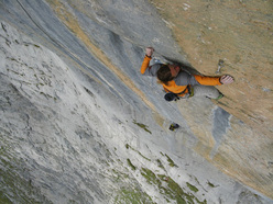 Jörg Andreas and Felix Neumärker climbing Zahir+ 8c at the Wendenstöcke, Switzerland