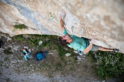 Stefano Ghisolfi climbing Jungle Boogie 9a+ at Céüse, France. The route was freed in 2010 by Adam Ondra