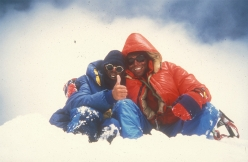 Victor Saunders (left) and Mick Fowler on the summit of Spantik in 1987 after having climbed the 2,000m Golden Pillar up the North West Face in alpine style over seven days in August 1987