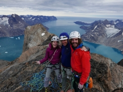 Vikki Weldon, Paul Mcsourley and Paolo Marazzi on the summit of their Cindarella ridge, Hidden Tower, Mythic Circle, Greenland