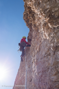 During the first ascent of Jeo, Col de Stagn, Sella, Dolomites