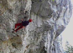 Arthur Kubista making the first ascent of Der lange Atem 9a+, Schattenreich, Höllental, Austria.
