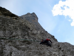 During the first ascent of Pilastro Nord, Cima Tosa, Brenta Dolomites (VI, 700m, Paolo Baroldi, Filippo Mosca, Francesco Salvaterra 09/2016)