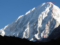 Nemjung soputh face and the line of ascent of Yannick Graziani and Christian Trommsdorff