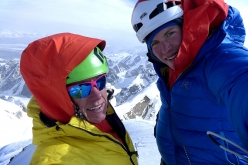 Ines Papert and Luka Lindič on the summit Kyzyl Asker (5842m), Kyrgyzstan on 01/10/2016 after having made the first ascent of 'Lost in China' up the mountain's SE Face