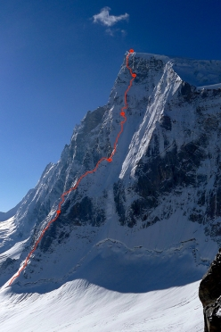 The line of ascent up the North Buttress of Sersank (Shib Shankar), 6100m, Indiana Himalayas, first climbed by  Mick Fowler and Victor Saunders