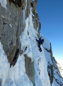 Mick Fowler leading a pitch on day 4 of he first ascent of Sersank (Shib Shankar), 6100m, Indiana Himalayas
