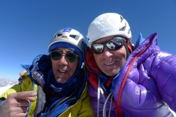 Victor Saunders and Mick Fowler, summit selfie after having made the first ascent of Sersank (Shib Shankar), 6100m, Indiana Himalayas