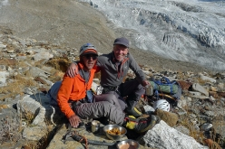 Victor Saunders and Mick Fowler back at base camp after first ascent of Sersank (Shib Shankar), 6100m, Indiana Himalayas