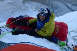 Victor Saunders at the fouth bivouac during the first ascent of Sersank (Shib Shankar), 6100m, Indiana Himalayas