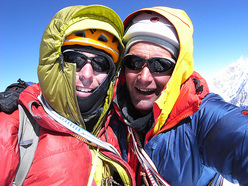Andy Houseman and Nick Bullock on the summit of Chang Himal (6750m), Nepal