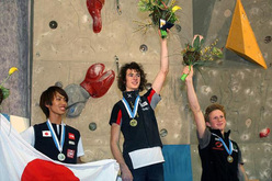 Sachi Amma (JPN) silver, Adam Ondra (CZE) gold Jakob Schubert (SLO) bronze in the Kranj World Cup stage 2009