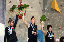 Akiyo Noguchi (JPN) silver, Mina Markovic (SLO) gold and Johanna Ernst (AUT) bronze in the Kranj stage of the Lead World Cup 2009