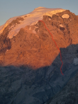 SW Face of Ortler and the route line of 'Golden Pillar of Ortler' first ascended on 29/08/2016 by Christoph Hainz