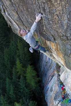 Jakob Schubert making the first ascent of 'Kein Licht kein Schatten' 9a at Elefantenwand, Ötztal, Austria