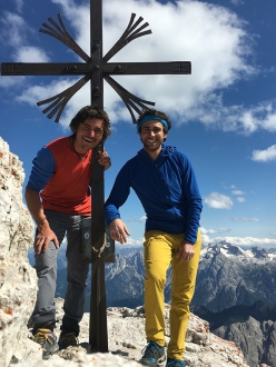 Simon Gietl and Vittorio Messini on the summit of Cima Grande di Lavaredo, Dolomites, after the first ascent of 'Das Erbe der Väter'