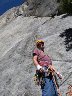 Jorg Verhoeven at the base of Dihedral Wall, El Capitan, Yosemite