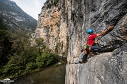 Climbing the second pitch of The Passenger, Gola del Limarò