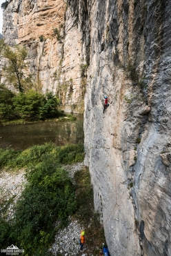 Climbing the first pitch of The Passenger, Gola del Limarò