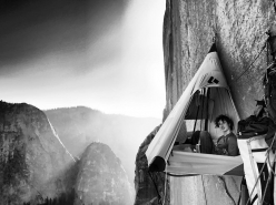 Adam Ondra resting after having free climbed the first 9 pitches on Dawn Wall, El Capitan, Yosemite on 14/11/2016