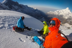 Hansjörg Auer, Alex Blümel and David Lama acclimatizing for their attempt of the South East ridge of Annapurna III in Nepal on April 21, 2016