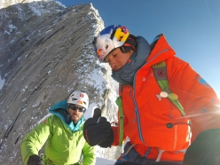 Hansjörg Auer and David Lama high up on the South East ridge of Annapurna III in Nepal on April 29, 2016