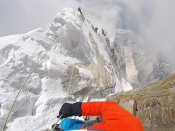 Hansjörg Auer and Alex Blümel climbing towards David Lama high up on the South East ridge of Annapurna III in Nepal on April 28, 2016