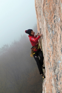 Angelika Rainer climbing 'Apache' at Cornalba