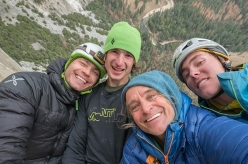 Pavel Blažek, Adam Ondra, Heinz Zak and Christian Wild on the Dawn Wall, El Capitan, Yosemite