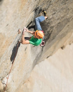 Jorg Verhoeven making the second free ascent of Dihedral Wall, El Capitan, Yosemite