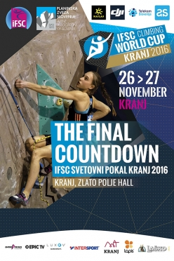 The last stage of the Lead World Cup 2016 will take place at Kranj in Slovenia on 26 and 27 November 2016