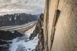 During the first ascent of Reflections, (E6 6b, A3+, 1250m Leo Houlding, Joe Möhle, Matt Pickles, Matt Pycroft, Waldo Etherington, 2016) up the NF Face of Mirror Wall, Greenland