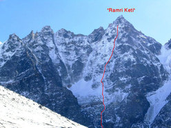 The North Face of Hama Yomjuma (5970m) and the line of ascent of Ramri Keti