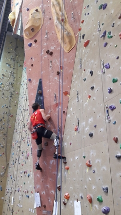 During the first stage of the Italian Paraclimbing Cup at Montebelluna