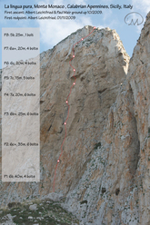 La lingua pura (7c, 6c oblig, 200m) on the North Face of Monte Monaco close to San Vito lo Capo in Sicily, Italy