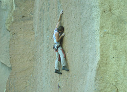 Alan Watts on Watts Totts (5.12b) in 1982, Smith Rock, USA